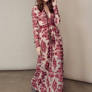 Love & Lemons Embroidered Temecula Maxi Dress S